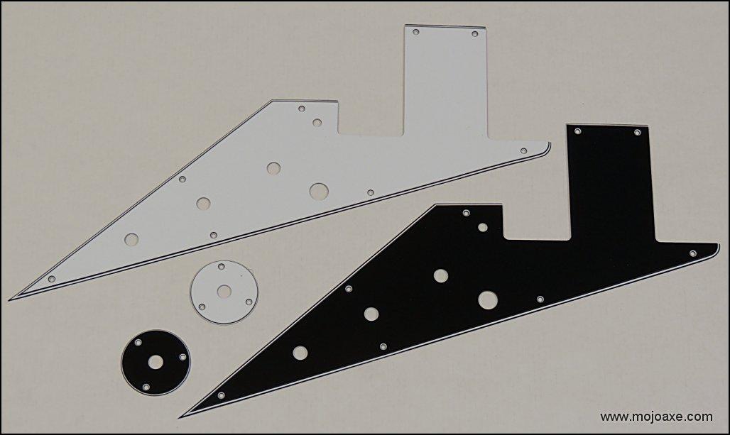 Gibson 58/' Flying V Vintage spec Pickguard /& Jack Plate Set Thin 4 Layer BWBW