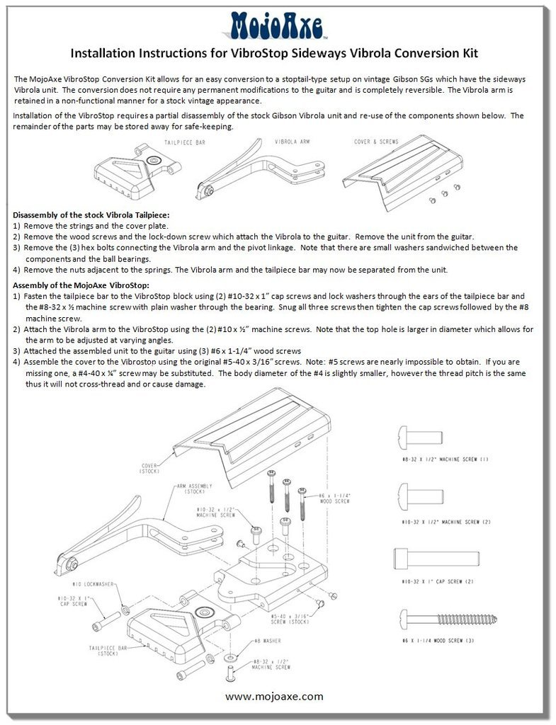 Mojoaxe Custom Guitar Parts Gibson Es 330 P90 Wiring Diagram Also Included With The Kit Is A Copy Of Gibsons Original Instruction Sheet For Setting Up And Adjusting Sideways Vibrola Unit